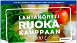 Voita 1000 € lahjakortti haluamaasi ruokakauppaan